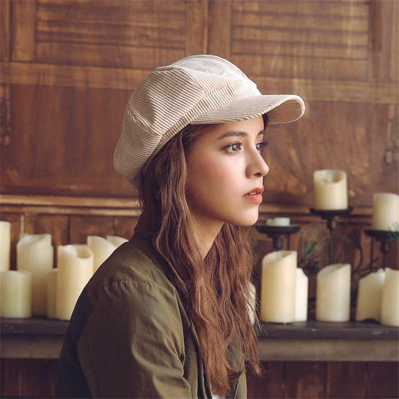 feb81a66725d7 EOEODOIT Berets Women New Caps Corduroy Retro Vintage European Old Style  Painter Hats 2018 Spring Autumn.