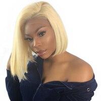 613 блондинка Синтетические волосы на кружеве парик короткие натуральные волосы боб парики для Для женщин прямые 150% Плотность 13x4 предварите