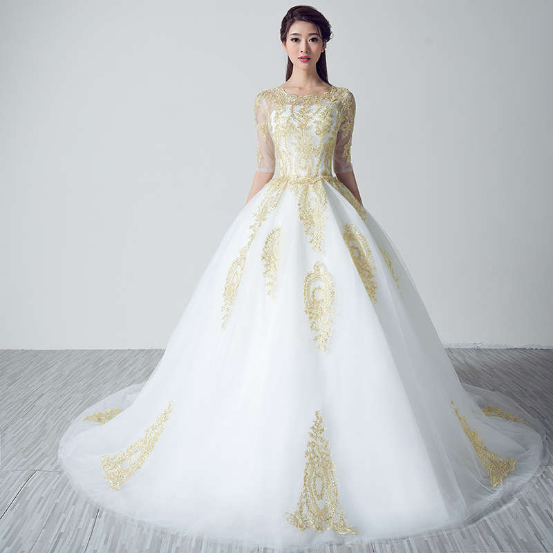 Online Get Cheap White Wedding Dresses with Gold Lace Applique