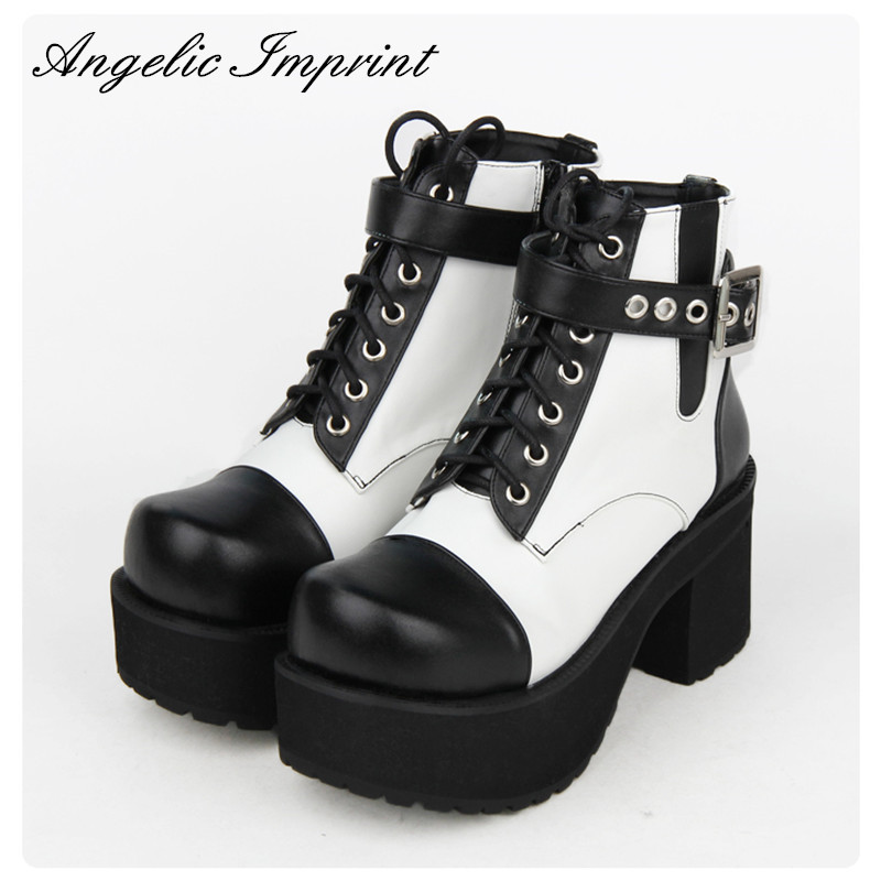 8cm Block Heel Black and White Buckle Strap Gothic Punk Lolita Boots Lace-up Platform Cosplay Ankle Boots lolita pink white lace up high heel student shoes sweet lady cosplay platform chunky block mid calf short boots 43