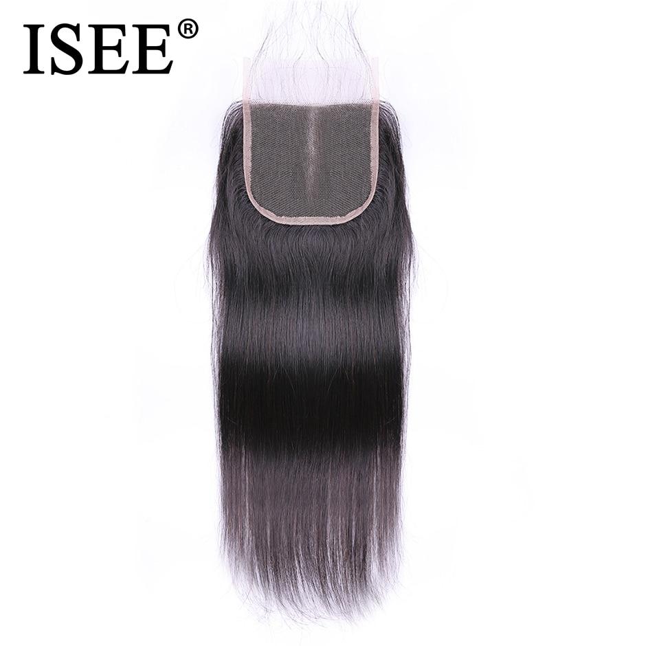 ISEE HAIR Brazylijski proste zamknięcie włosów Remy Human Hair 4 - Włosy ludzkie (na czarno) - Zdjęcie 4