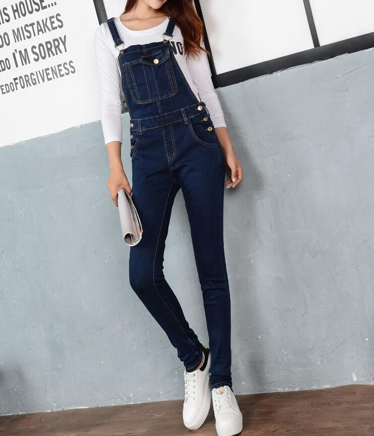 0ddbacd24766 Women Jumpsuit Denim Overalls 2018 Spring Autumn Casual Skinny Pants Ripped  Pockets Jeans Coverall Plus Size S 5XL E102-in Jumpsuits from Women s  Clothing ...
