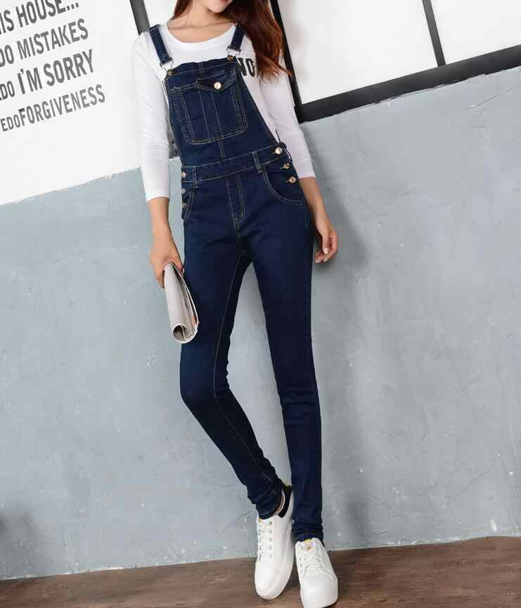 9f813920330 Women Jumpsuit Denim Overalls 2018 Spring Autumn Casual Skinny Pants Ripped  Pockets Jeans Coverall Plus Size S-5XL E102