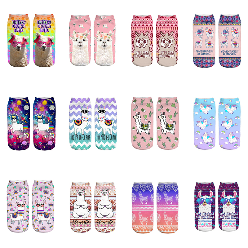 Pink Glasses Llama New Hot Girl Funny Meias Low Cut Ankle   Sock   Women Hosiery Printing   Socks   Calcetines Christmas Gift   Socks