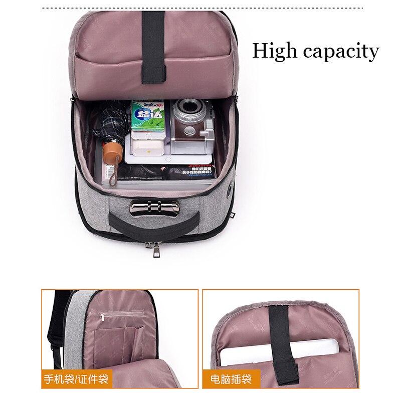 Men Backpack Anti Theft Password Locks Bag Men Bag USB Charging Backpack With Headphone Plug Business 2018 New Travel Bag B288