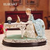 Европейская керамика Леди играет фортепиано Настольные светильники lover люди фигурка кабинет ткань абажур спальня тумбочки стол свет