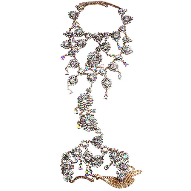Summer Sexy Handmade Tassel Luxury Chunky Boho Gem Crystal Long Body Statement Necklace Chain Body Jewelry Femme 3490