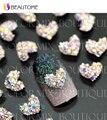 5 unids Corazón Piedras 3d Nail Art Decoraciones Aleación de Metal Pegatinas de Uñas Joyería de Los Encantos De Uñas de Gel/Pulimento de Herramientas