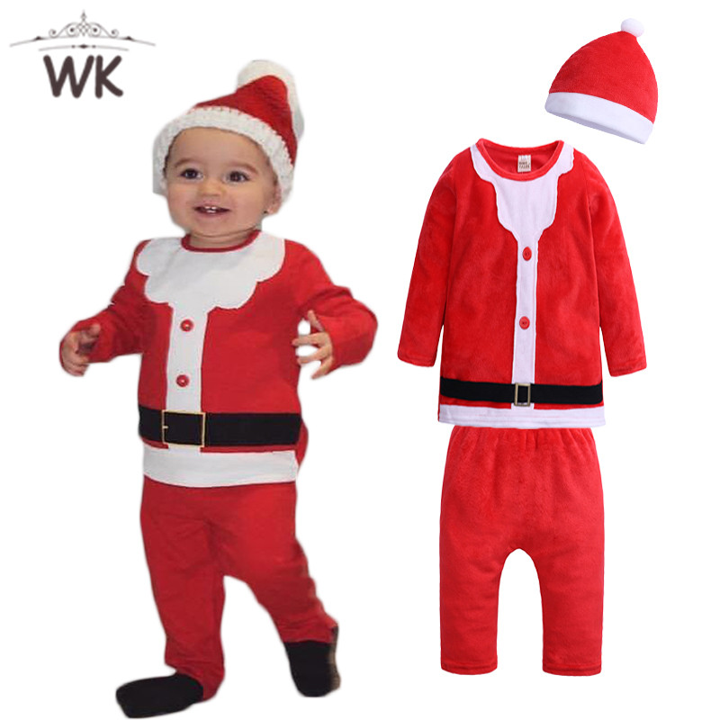 Infant Boys Clothing Pants Tops Christmas-Clothes Toddlers-Hats Santa-Claus Newborn-Baby