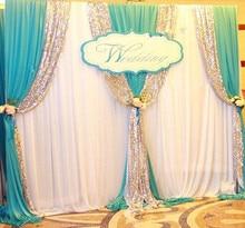 Экспресс Бесплатная доставка 3 м x 3 м Новый Дизайн свадьба фон Шторы с гирлянды для продажи js-028