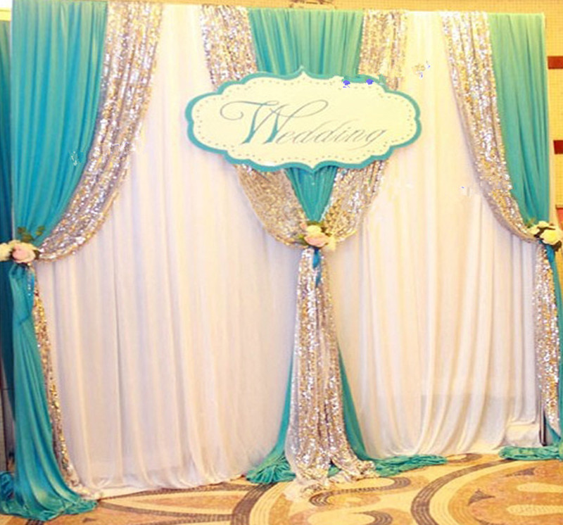 Express free shipping 3Mx3M New Design Wedding Backdrop Curtain with Swags for SALE Js 028
