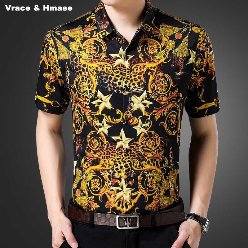 881f58ada00 NO.7603 Personality 3D gold yellow printing fashion slim short sleeve shirt  Summer 2018 New