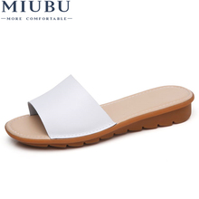 MIUBU New Womens Sandals Slippers Flip Flops Fashion Platform Leather Wedeges Heels Beach Slides Shoes