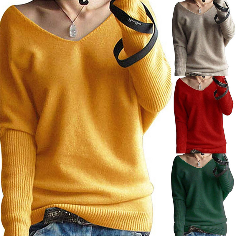 Fashion Women Winter Batwing Sleeve Solid Knitted Sweater Pullover Tops Blouse Feminina Casaco Feminino Sueter Mujer Sauteur QB2