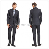 New Arriving Dark Grey 100% wool 2 pieces(jacket t+pants) two buttons notch lapel with double vents mens suits italian
