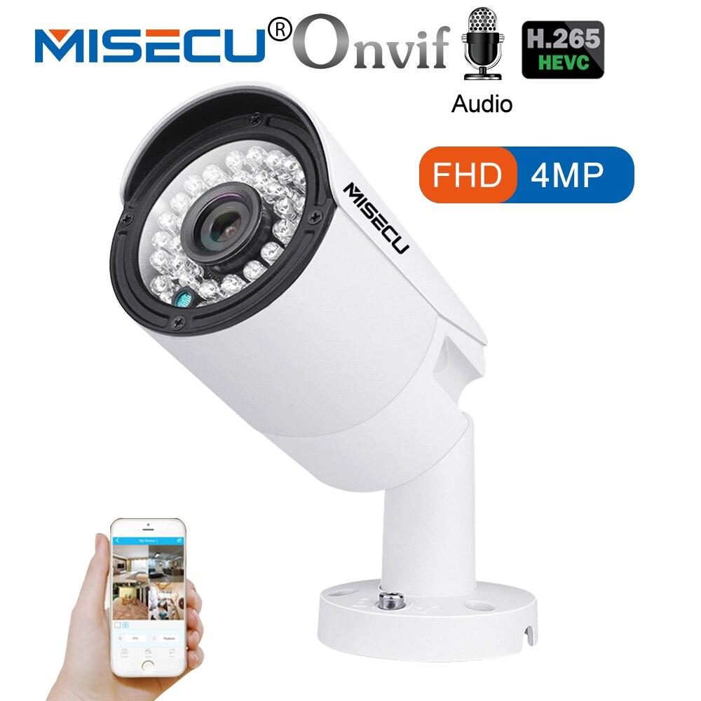 MISECU 4.0MP H.265/H.264 48 v POE Audio Record Hi3516D OV4689 Métal Caméra IP Étanche ONVIF P2P 36 IR LED Nuit Voir E-mail