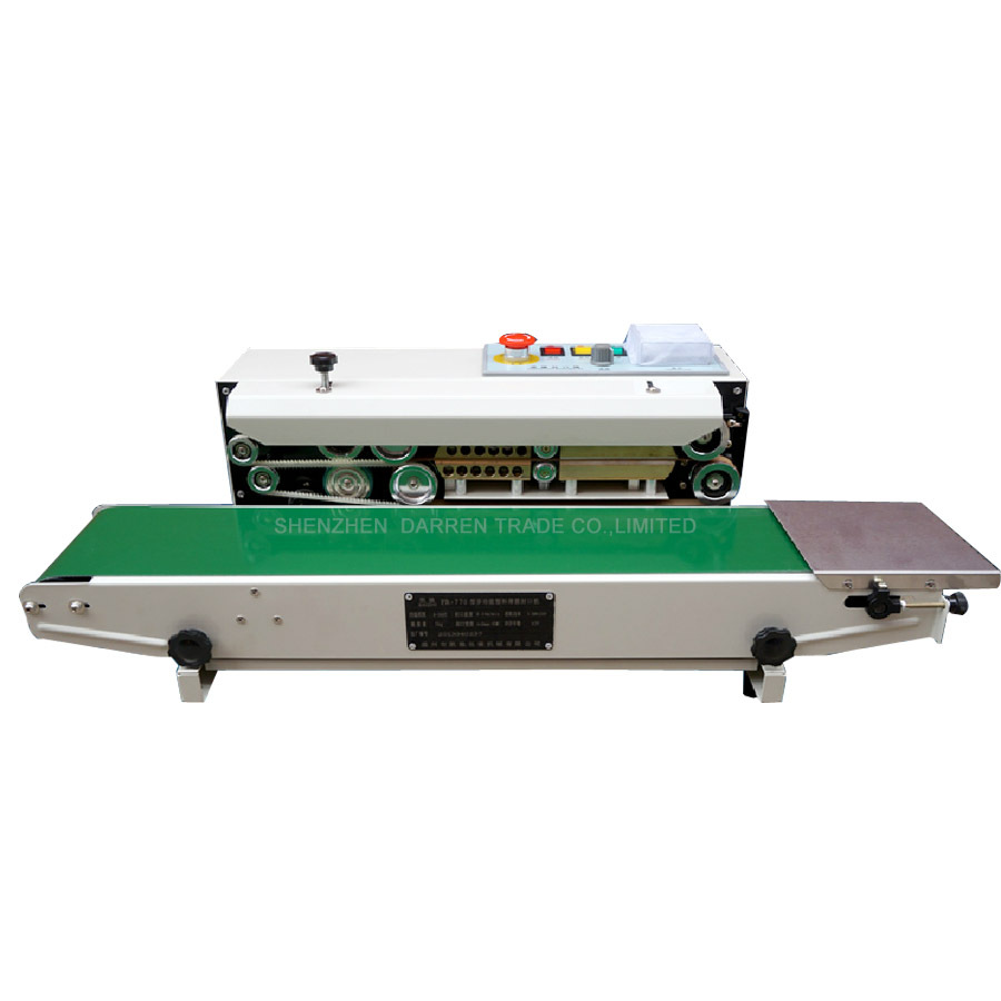 Continuous Film Sealing Machine Plastic Bag Package Machine Band Sealer Horizontal Heating Sealing Packing Machine FR-770 frm 980 automatic continuous inflation nitrogen film sealing machine plastic bag package machine expanded food band sealer