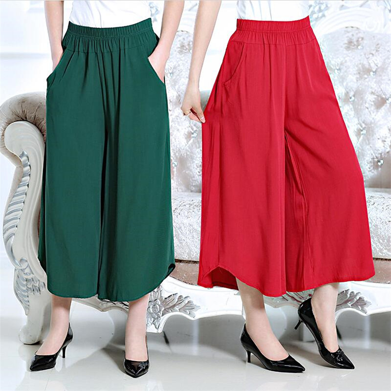 Female Summer Thin Cotton   Pants   High Waist   Wide     Leg     Pants   Casual Loose Ankle-length Trousers Comfortable   Pants   Plus Size M-7XL