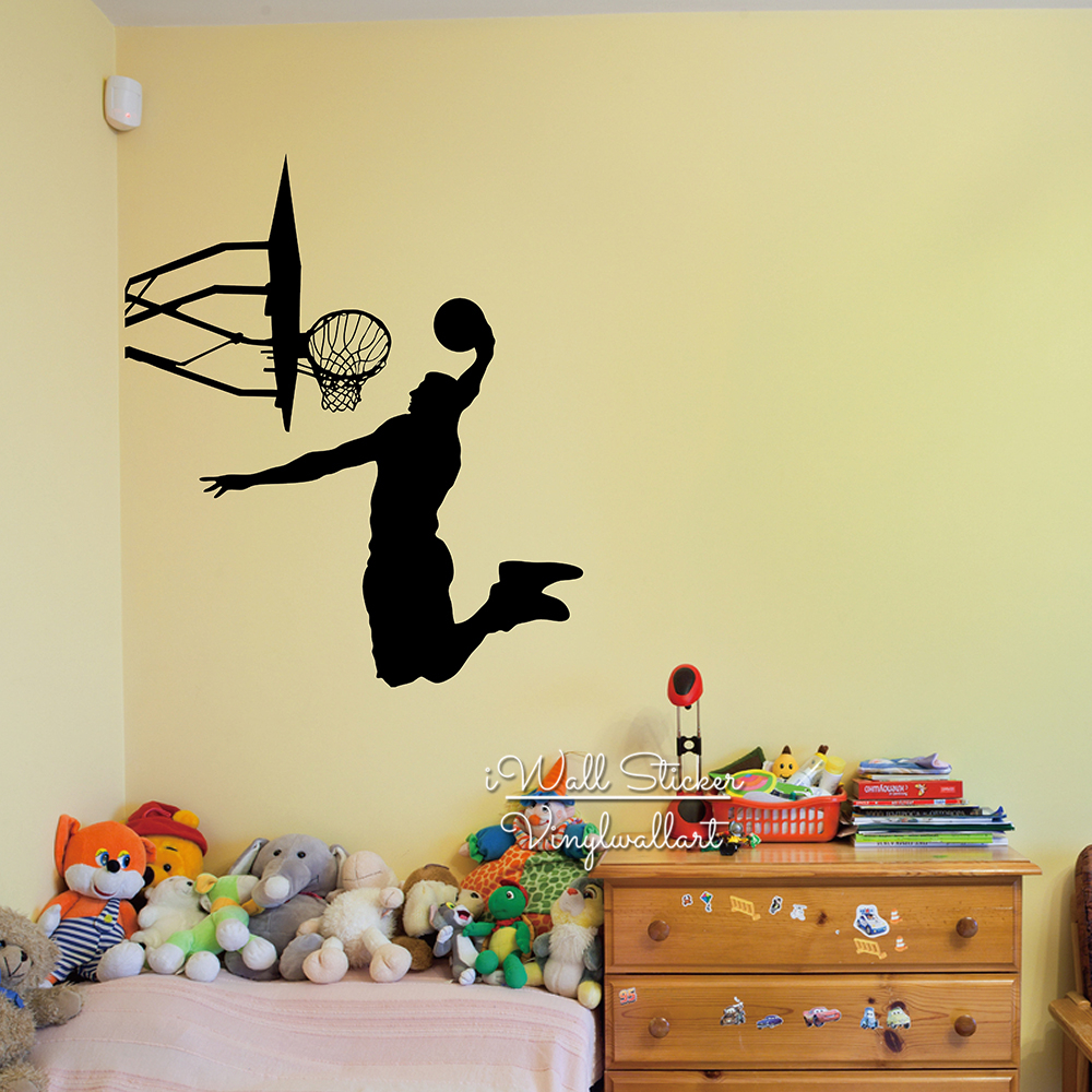ᐊBasketball Wall Sticker Basketball Player Wall Decal DIY Removable ...