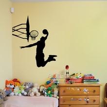 цена на Basketball Wall Sticker Basketball Player Wall Decal DIY Removable Wall Decoration Sports Wall Sticker Cut Vinyl Stickers M33