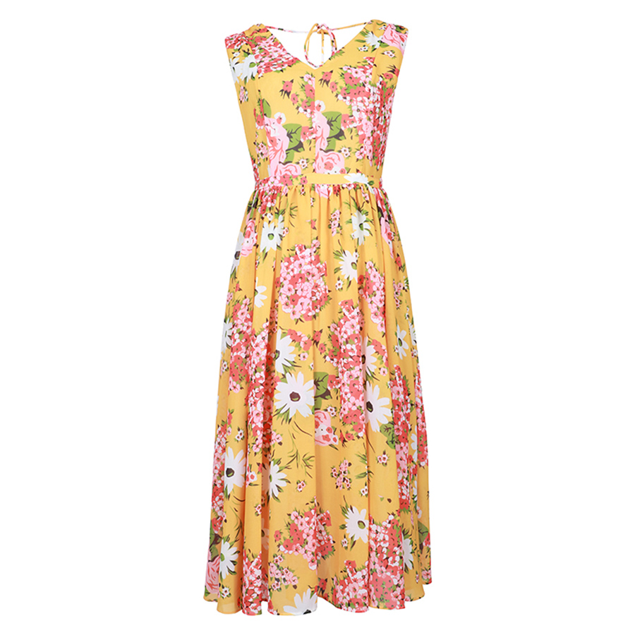 VERDEJULIAY Runway Designer Dress 2019 Summer Women Floral Elegant Bow Pleated V neck Sleeveless Yellow Print
