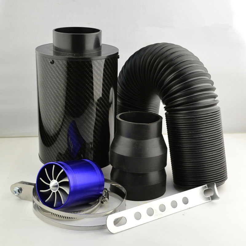 2019 hot Universal Racing Cold Feed Induction Kit & Carbon Fibre Air Intake Filter Box with fan to improve power