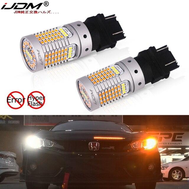 iJDM No Hyper Flash Canbus White/Amber High Power 3157 Switchback 12V 3155 T25 LED Bulbs For Daytime Running/Turn Signal Light
