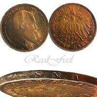 1913 German Coin 90% silver BADEN 5 Mark collectibles Copy Coins
