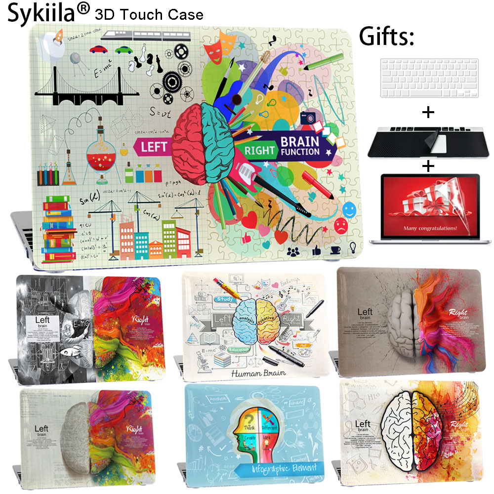Sykiila for Macbook Air 13 11 Case Brain Art Print Cover Pro 13  15 12 Retina Custom Make Diy Shell Screen Keyboard Protector for macbook new pro 13 15 touch bar laptop case for mac book air pro retina 12 13 15 creative lamp blackboard print hard cover