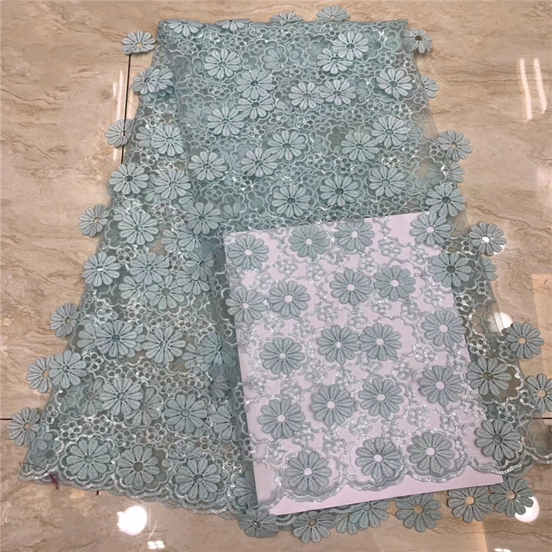 VILLIEA African Lace Fabric 2018 High Quality Fashion Mint Green Mesh Embroidered Sequin Fabric For Nigerian