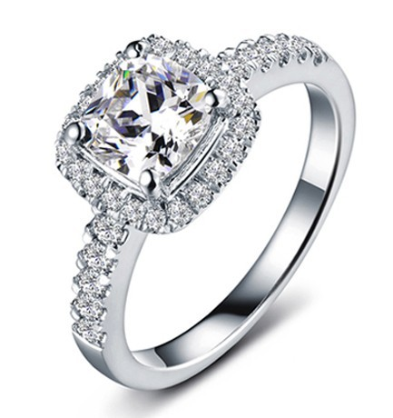 3 Ct Synthetic Diamond For Women Princess Wedding Ring Cushion Shape Clic Halo Style Valentine S Day