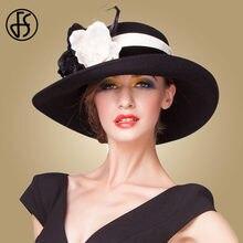 FS estilo británico gran amplia ala sombrero de mujer Vintage negro púrpura lana  sombrero de fieltro acd155798ed