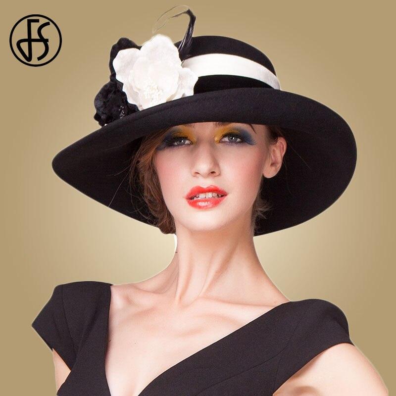 FS Estilo Britânico Grande Aba Larga Fedora Mulheres Vintage Preto Roxo  Cloche Bowler Chapéus de Inverno 91e0881c1d7
