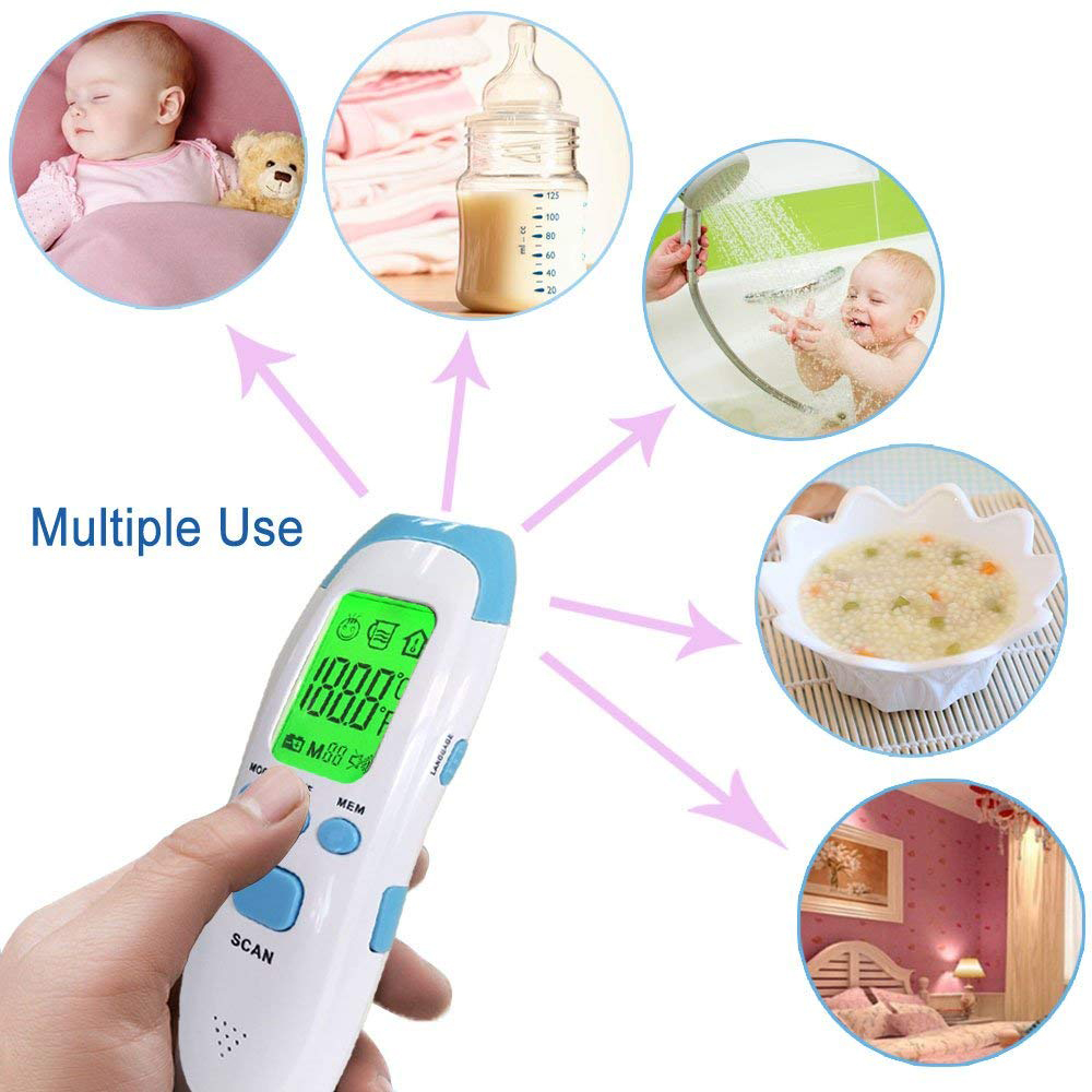 MHKBD FDA Infrared Digital Thermometer Multifunctional Accurate Instant Read Forehead Thermometer with 3 Modes Body Object Room in Ear Thermometer from Beauty Health