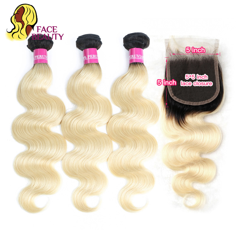 Facebeauty 1B 613 Ombre Human Hair 2 3 4 Bundle Blonde Hair Extensions Peruvian Body Wave