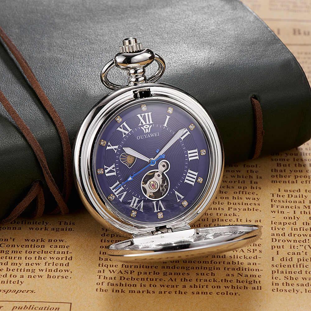 חדש OYW יד מתפתל מכאני Steampunk גברים שעון כיס כחול שלד חיוג פלדת שרשרת תליון אופנה שרשרת Fob שעונים