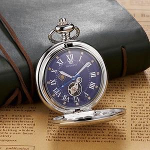 Image 4 - 新 oyw ハンドメカニカルスチームパンク男性懐中時計ダイヤル鋼のネックレスのチェーンフォブ時計