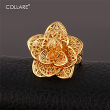 Collare Rings For Women Bridal Wedding Bands Ring Gold/Silver Color Angel Big Flower Bague With Gift Box Engagement Ring R111(China)