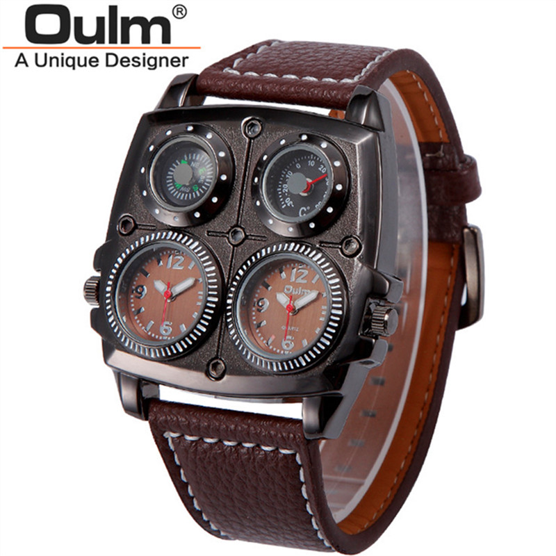 Oulm Authentic Tag Watches Mens Oversized Dial Unique Designer Watch Compass thermometer decoration Future watch montre homme app gold ball золотой шар 241 4 компьютерная бумага для печати четыре 80 не разрывающий цвет все белый