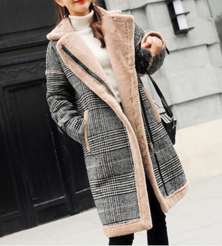 Women Woolen Coats High Quality Outwear Lapel Plaid Padded Female Wool Blend Fluff Long Parker Coat Winter Warm Casual Overcoat