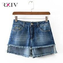 RZIV 2017 женские случайные сплошной цвет двойной слой из старые джинсовые шорты