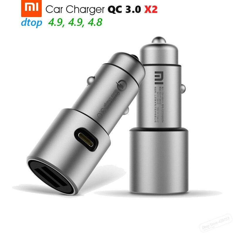 Цена за Оригинальный Xiaomi автомобильное Зарядное устройство QC3.0 X2 металлический Dual USB Smart Управление Quick Charge 5 В = 3A * 2 или 9 В = 2A * 2 или 12 В = 1.5A * 2 макс 36 Вт