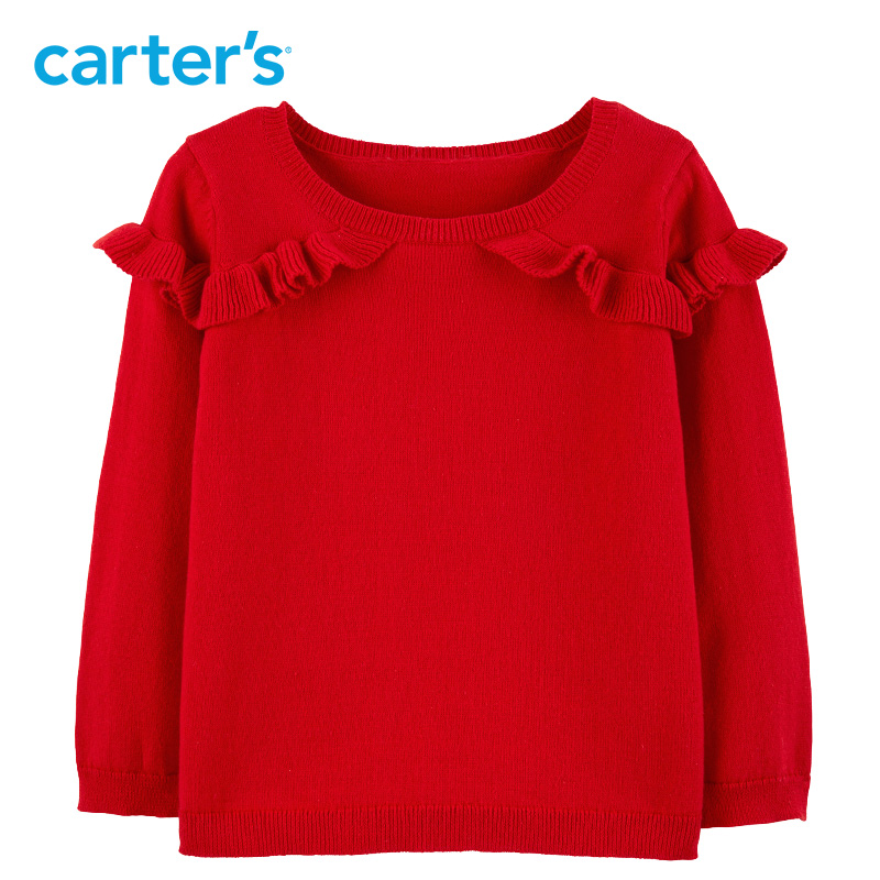 Carter's Ruffle Pullover Sweater Autumn winter red casual long sleeve cotton girls sweater christmas sweater 253H845 dolman sleeve asymmetrical pullover sweater