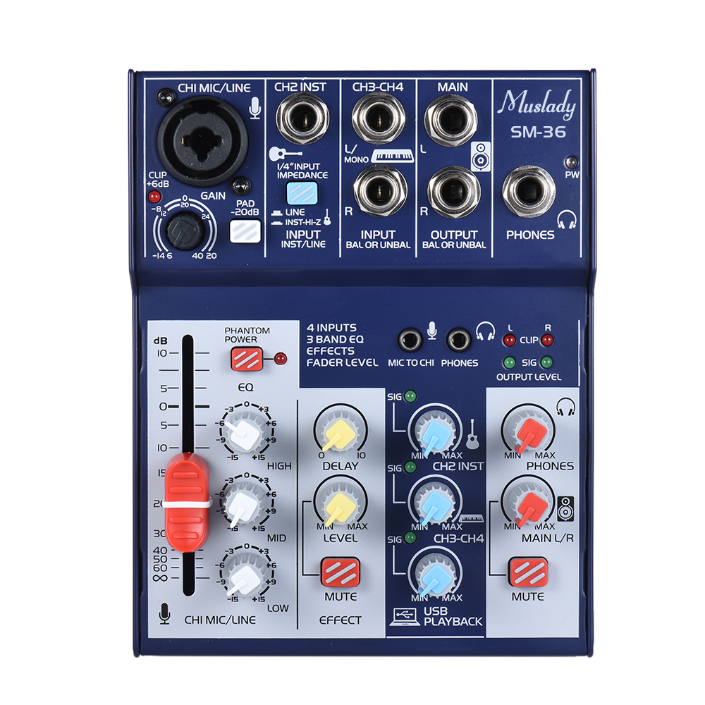 muslady sm 36 compact size 4 channel sound card mixing console digital audio mixer supports 5v. Black Bedroom Furniture Sets. Home Design Ideas