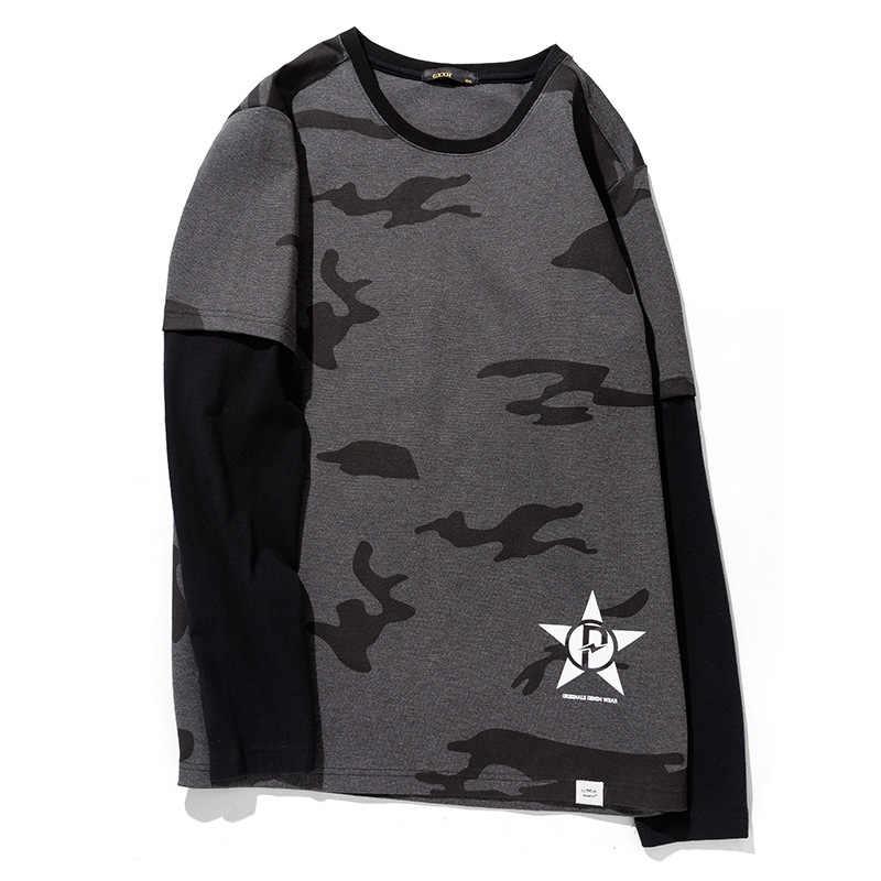 GXXH Большие размеры Повседневная футболка с длинными рукавами Мужская Осенняя модная Мужская хлопковая футболка плюс размер Мужская футболка одежда 3XL 4XL 5XL 6XL 7XL