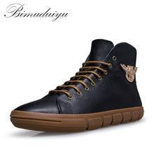 BIMUDUIYU Marke Neue Männer Winter/Herbst Stiefel Warme Echtes Leder Wasserdichte Motorrad Stiefel Plus Size Schneeschuhe Kostenloser Versand