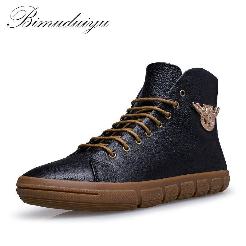 BIMUDUIYU Brand New Men Winter/Autumn Boots Warm Genuine Leather Waterproof Motorcycle Boots Snow Boots Winter Shoes Men mulinsen new 2017 autumn winter men