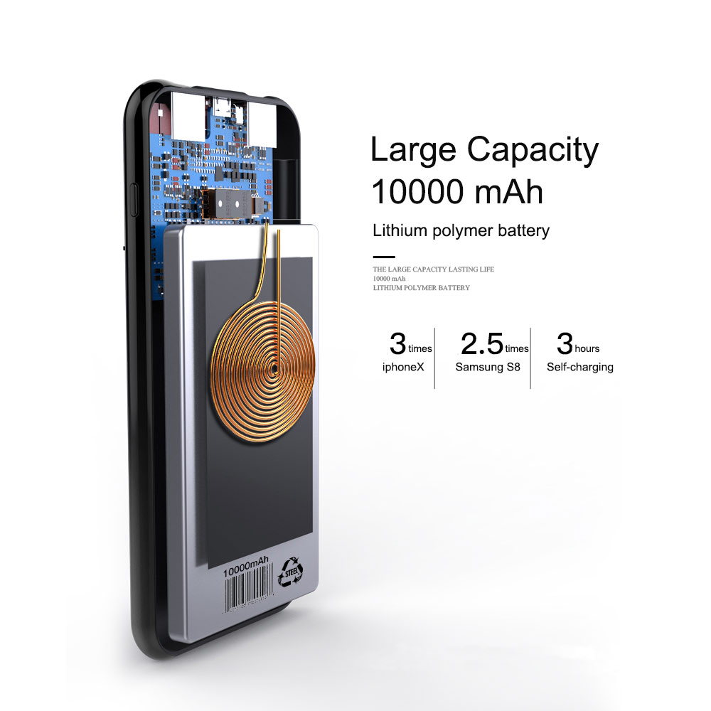 10000mAh Universal Portable LCD Power Bank Qi Wireless Charger For iPhone Samsung Xiaomi Powerbank Mobile Phone Wireless Charger in Power Bank from Cellphones Telecommunications