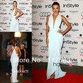 Miranda Kerr Red Carpet 2013 White Deep V Neck Floor Length Long Chiffon Formal Celebrity Gown Evening Dress CD044