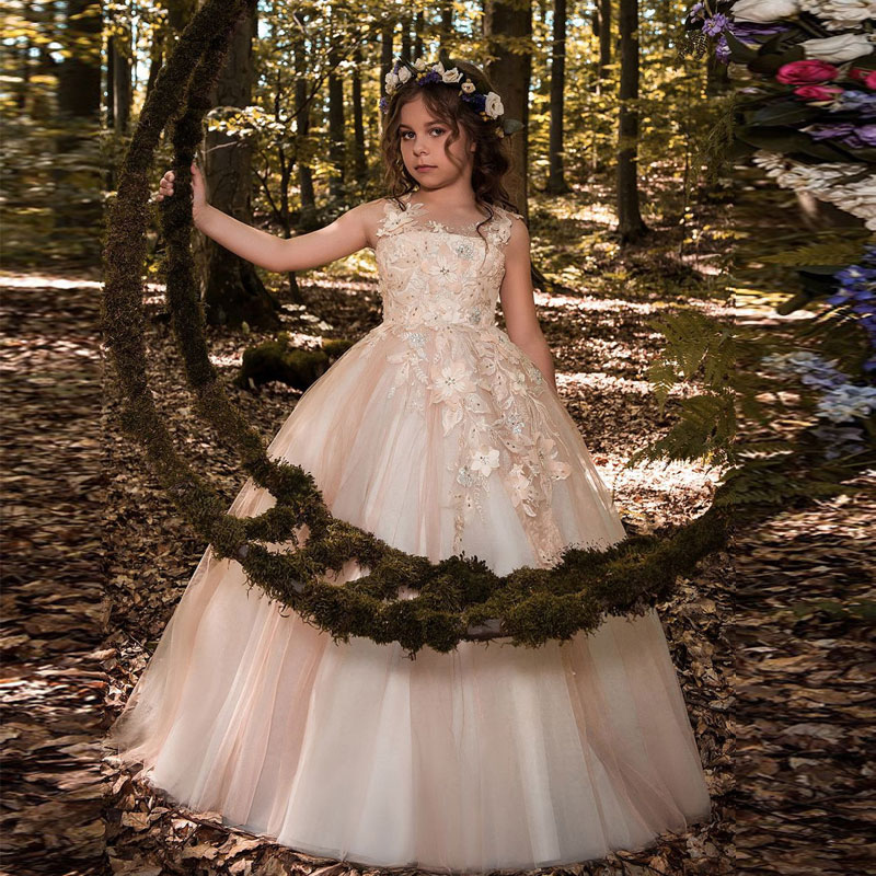 Gorgeous Lace Beading Sequins Sleeveless Flower Girl Dress Champagne Lace Up Keyhole Back Kids Tulle Pageant Ball Gowns for Prom gorgeous lace beading sequins sleeveless flower girl dress champagne lace up keyhole back kids tulle pageant ball gowns for prom